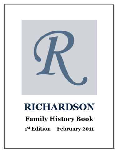 Richardson Family History Book Cover Photo