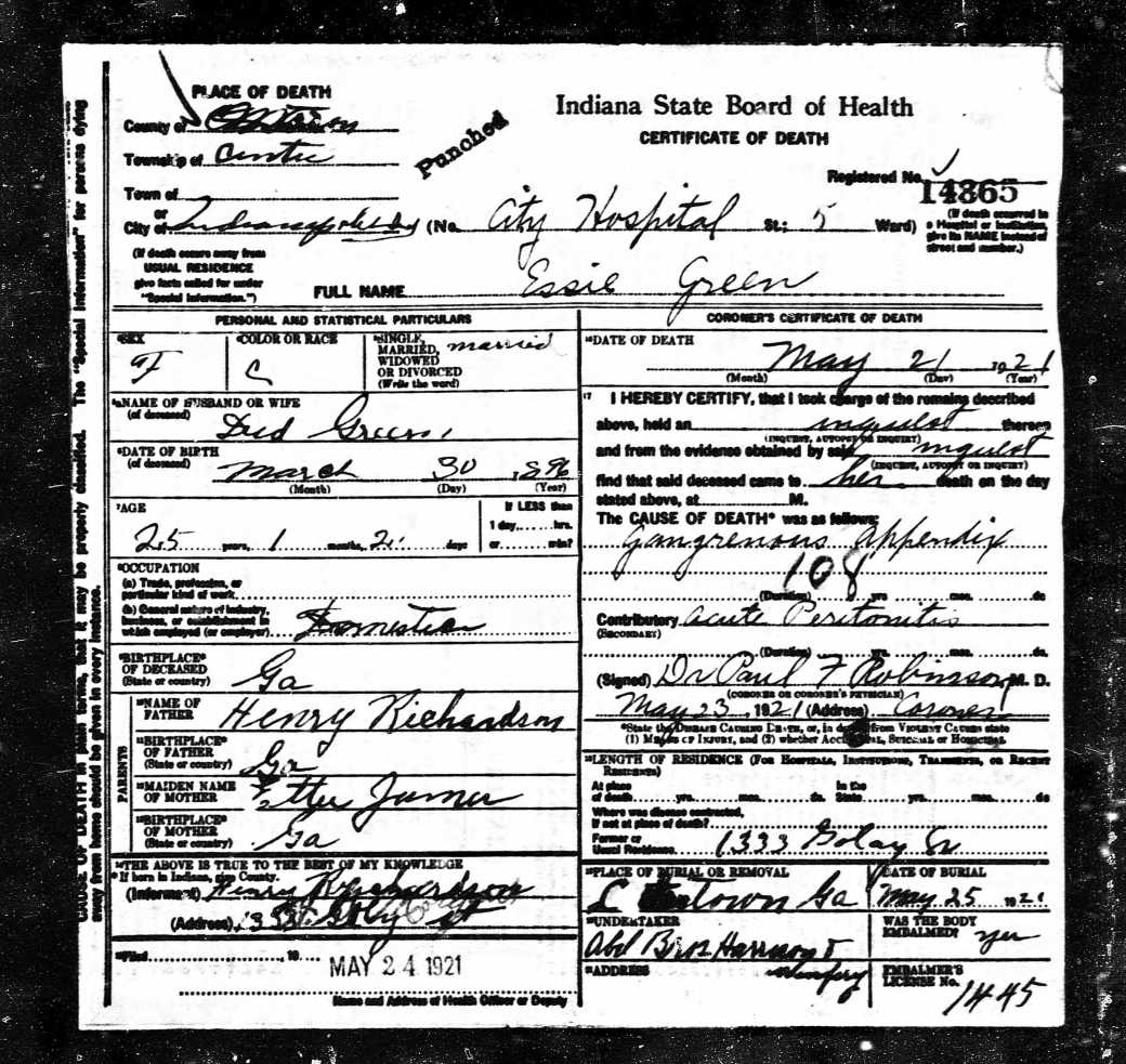 Essie Richardson Death Certificate