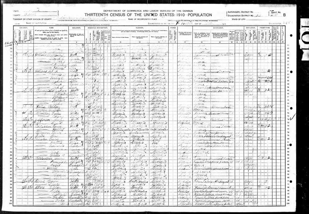 US Federal Census 1910 Polk County Cedartown Georgia